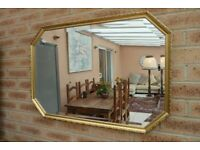 Vintage Gold Gilt 8 Sided Ornate Bevelled Mirror Excellent Condition