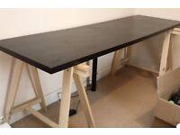 Ikea 2m trestle desk with centre column, black