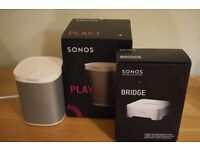Sonos play 1 Speaker - White and Sonos bridge