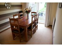 Sheesham Indian Rosewood Dining Table & 6 Leather Seated Chairs - Very Good Condition