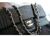 New CHANEL Black Alligator Classic Double Flap Bag *RARE* £150
