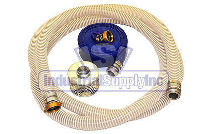 2 Flex Pin Lug Suction Hose Trash Pump Kit W50 Discharge Hose Fs