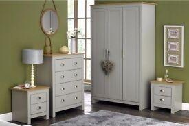 Lancaster 4 Piece 3 Door Wardrobe Chest Bedside Table Bedroom Furniture Set - Grey