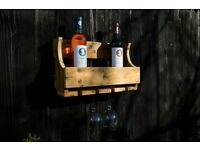 Rustic Wine Rack for Bottles and Wine Glasses