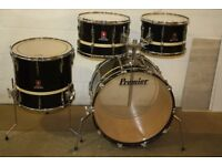 Premier Resonator Black + White Band Drum Kit 13in + 14in + 16in Toms + 22in bass - DRUMS ONLY