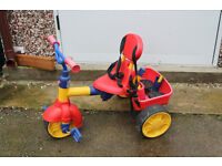 Little Tikes 4-in-1 Trike with basket, push along handle, safety harness and sunshade