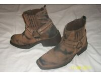 Mens Cowboy style Biker boots size 8