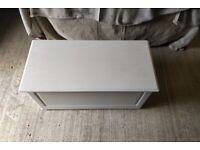 White wood storage chest