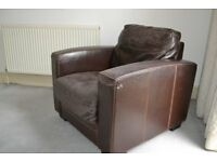 BROWN LEATHER CHAIR - GOOD QUALITY FRAME, IN NEED OF RECOVERING