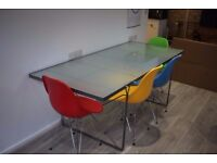 Large frosted glass and metal desks / conference / dining tables x2
