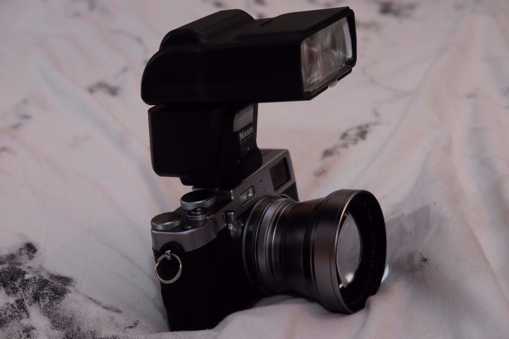 Fujifilm X100T with Flash and Teleconverter lens (Nissin i60A