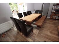 Barker & Stonehouse Solid Oak Dining Table, 8 Brown Leather Chairs and Solid Oak Dining Bench