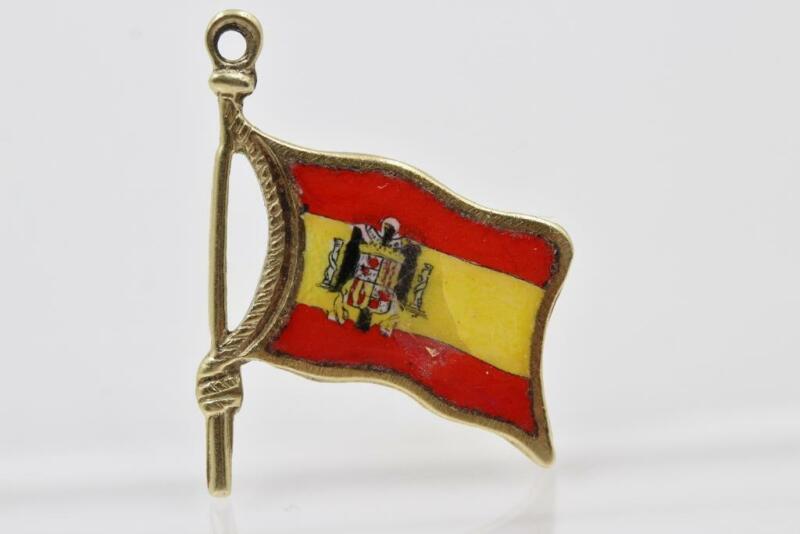 VINTAGE ESTATE 14K SOLID GOLD MULTI-COLOR ENAMEL SPAIN FLAG CHARM