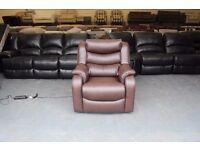 Ex-display P.K Denver brown leather electric recliner armchair