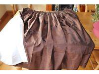 Pair of John Lewis Brown Silk Pencil Pleat Curtains