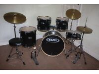Mapex V Series Black 5 Piece Full Drum Kit (22 inch Bass) + Stands + Stool + Cymbals