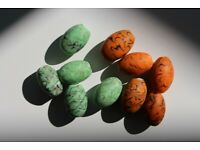 Large Sea Wave Design Orange & Green Indian Glass beads (10 pcs)