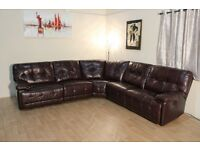 Max burgundy leather electric recliner corner sofa