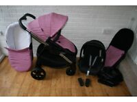 Pink iCandy Strawberry 2 pram pushchair with car seat 3 in 1 ----can post-------