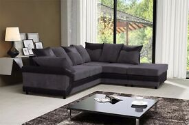 BRAND NEW JUMBO CORD AND LEATHER Large Fabric Corner SOFA Brown & Beige 3 & 2 SEATER