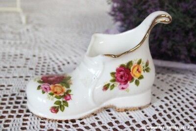 SCARPONCINO D'EPOCA IN PORCELLANA - VINTAGE BONE CHINA COTTAGE ROSE SHOE