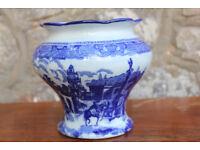 Vintage Transfer Printed Blue and White Vase Unusual Mark on Base Planter Plant Pot Holder Antique