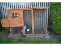3 Farmhouse hens, hen house, feeder/drinker & food *EDITED*