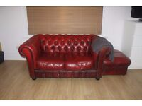 Red leather 2 seater chesterfield sofa + foot stall