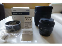 Sigma ART 30mm f/1.4 DC HSM Lenses - Canon EF mount *Used Once*