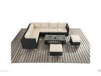 LARGE 8 SEATER RATTAN GARDEN SET - CORNER SOFA, 2 STOOLS & TABLE FOR OUTDOOR PATIO/CONSERVATORY