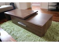 NEXT walnut extendable coffee table and L-shaped matching unit