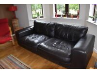 Large 3-seater brown leather sofa