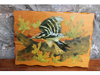 Handmade Bird Picture Decoupage on Wood By Deirdre Drake Woodpecker 3D effect Art Picture Unusual