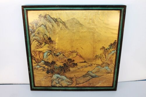 Antique Asian Rice Paper Painting Water and landscape Scene Frame Asian Art