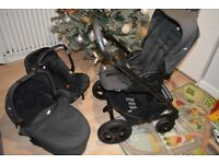 Joie Chrome DLX Pushchair + Carrycot + Car Seat + Footmooth + Adaptors
