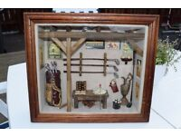 Antique Vintage Golf themed Detailed Diorama / Shadow Deep Framed Box Wall Mounted Picture