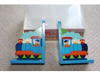 Kids Wooden bookends - train design. Lovely in a train themed nursery. Brand new / boxed / gift