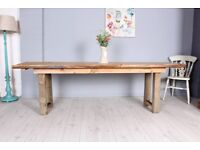 DELIVERY OPTIONS - 8 FT RECLAIMED PINE HOMEMADE PINE TABLE - BENCH - 5 STAINED PLANKS