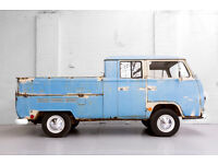 LHD 1969 T2 Volkswagen VW Double Crew Cab Pick Up Truck Running Restoration Proj
