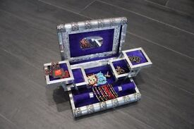 Jewellery Box - Beautifully ornate, lockable chest with fold out compartments + costume jewellery