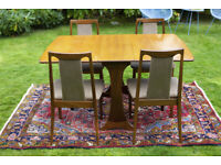G-Plan Teak mid-century modernist Dining Table and 4 Chairs Set, Perfect condition, retro, vintage,