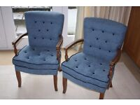 Pair of wooden framed upholstered chairs