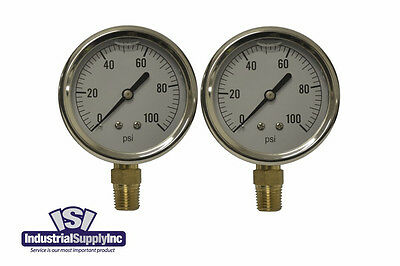 Pressure Gauge Liquid Filled 0-100 Psi Hydraulic-air-water Free Shipping 2pk