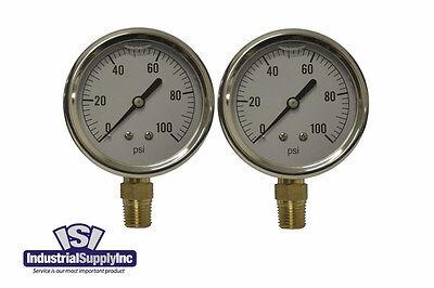 Pressure Gauge Liquid Filled 0-100 Psi Hydraulic-air-water Free Shipping 2pk