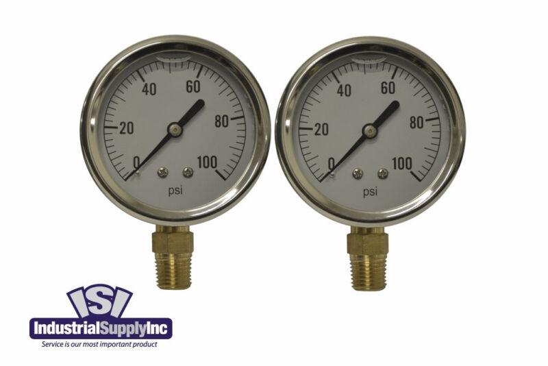 Pressure Gauge Liquid Filled 0-100 PSI Hydraulic-Air-Water (Free Shipping) (2pk)