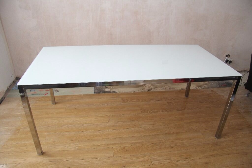 Ikea Torsby Dining Table Frosted White Gl Silver Frame