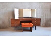 1970's mid century Meredrew 3 mirror curved dressing table with matching stool