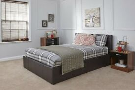 Caspian Ottoman Gas Lift Up Storage Bed - Brown 5ft King size!