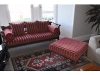 Genuine Ottoman sofa of Turkish/Cypriot origin and matching footstool