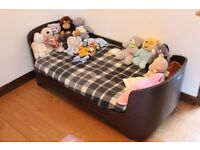 Toddler to Junior Bed 2-7 yrs: Leander Junior Bed (Walnut) + 2 side rails, mattress & fitted sheets